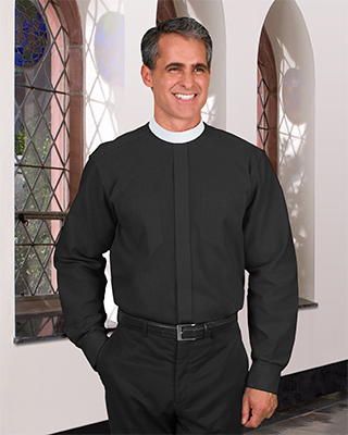 Long Sleeve Neckband Clergy Shirt