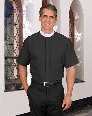 short sleeve neckband clergy shirt