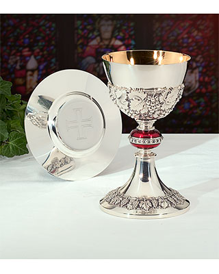 burgundy chalice and paten