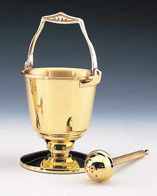 brass holy water vat and sprinkler